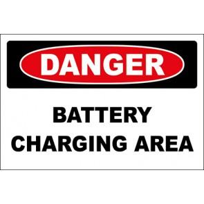Aufkleber Battery Charging Area · Danger · OSHA Arbeitsschutz