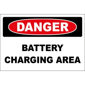 Hinweisschild Battery Charging Area · Danger