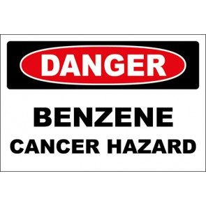Hinweisschild Benzene Cancer Hazard · Danger