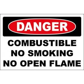 Hinweisschild Combustible No Smoking No Open Flame · Danger · OSHA Arbeitsschutz