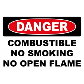 Hinweisschild Combustible No Smoking No Open Flame · Danger