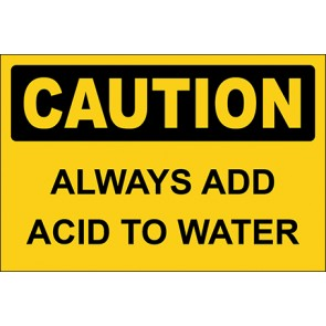 Aufkleber Always Add Acid To Water · Caution · OSHA Arbeitsschutz