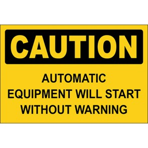 Aufkleber Automatic Equipment Will Start Without Warning · Caution · OSHA Arbeitsschutz