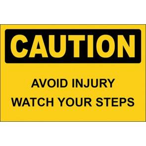 Aufkleber Avoid Injury Watch Your Steps · Caution · OSHA Arbeitsschutz