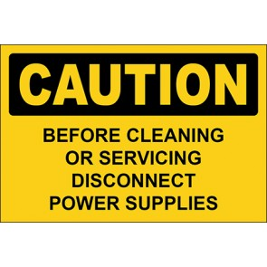 Aufkleber Before Cleaning Or Servicing Disconnect Power Supplies · Caution · OSHA Arbeitsschutz