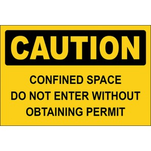 Aufkleber Confined Space Do Not Enter Without Obtaining Permit · Caution · OSHA Arbeitsschutz