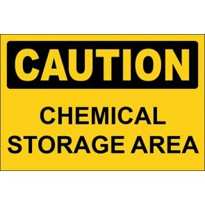 Hinweisschild Chemical Storage Area · Caution