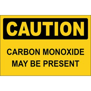Aufkleber Carbon Monoxide May Be Present · Caution · OSHA Arbeitsschutz