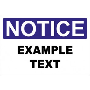 Aufkleber Example Text · Notice · OSHA Arbeitsschutz