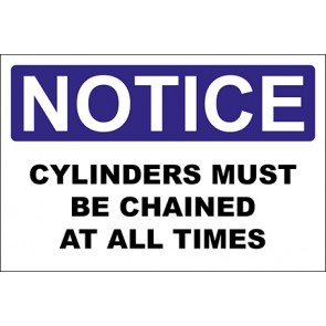 Aufkleber Cylinders Must Be Chained At All Times · Notice · OSHA Arbeitsschutz