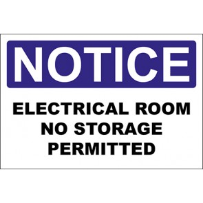 Hinweisschild Electrical Room No Storage Permitted · Notice