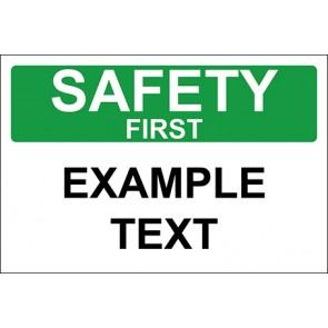 Magnetschild Example Text · Safety First · OSHA Arbeitsschutz