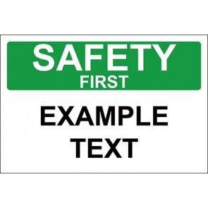 Magnetschild Example Text · Safety First