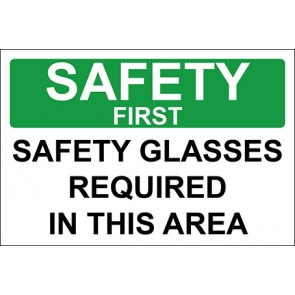 Aufkleber Safety Glasses Required In This Area · Safety First · OSHA Arbeitsschutz