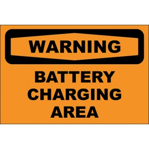 Hinweisschild Battery Charging Area · Warning · OSHA Arbeitsschutz