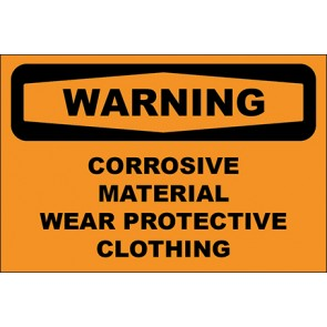 Hinweisschild Corrosive Material Wear Protective Clothing · Warning