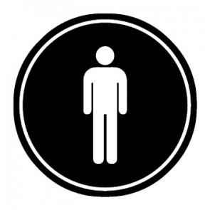 WC Toiletten Aufkleber | Herren | schwarz · rund