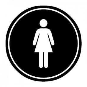 WC Toiletten Aufkleber | Damen | schwarz · rund