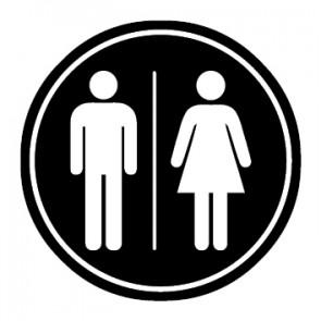 WC Toiletten Aufkleber | Herren · Damen | schwarz · rund