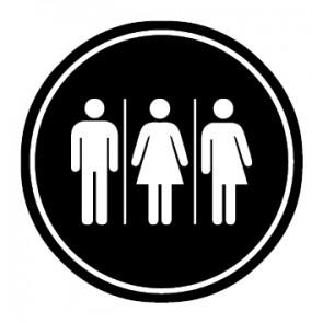 WC Toiletten Aufkleber | Herren · Damen · Transgender | schwarz · rund