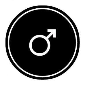 WC Toiletten Aufkleber | Symbol Mann | schwarz · rund