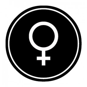 WC Toiletten Aufkleber | Symbol Frau | schwarz · rund
