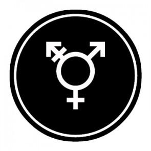 WC Toiletten Aufkleber | Symbol Transgender | schwarz · rund