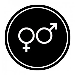 WC Toiletten Aufkleber | Symbol Herren · Damen | schwarz · rund