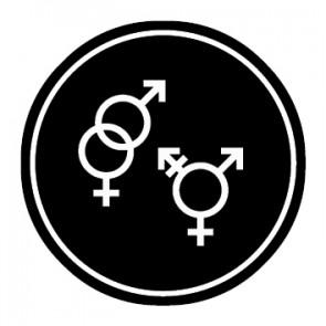 WC Toiletten Aufkleber | Symbol Herren · Damen · Transgender | schwarz · rund