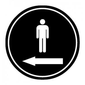 WC Toiletten Aufkleber | Piktogramm Herren Pfeil links | schwarz · rund