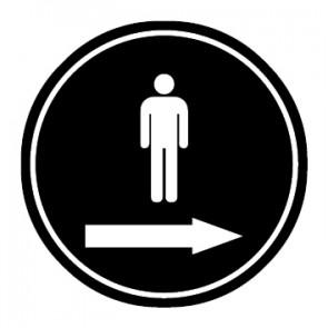 WC Toiletten Aufkleber | Piktogramm Herren Pfeil rechts | schwarz · rund