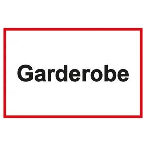 Garderobenschild Garderobe · weiß - rot