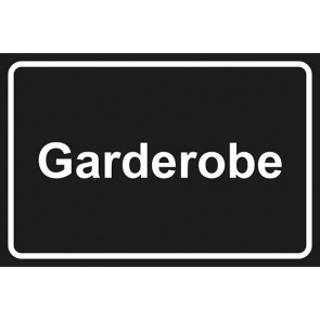 Garderobenschild Garderobe · schwarz - weiß