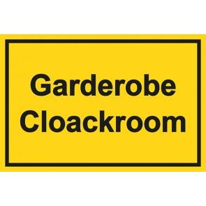 Garderobenschild Garderobe · Cloackroom · gelb