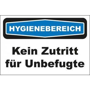 Hinweisschild Hygienebereich Kein Zutritt für Unbefugte
