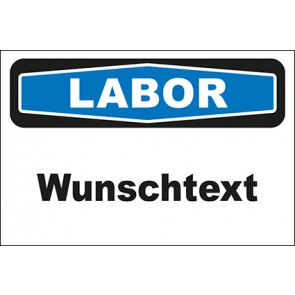 Hinweis-Aufkleber Labor Wunschtext