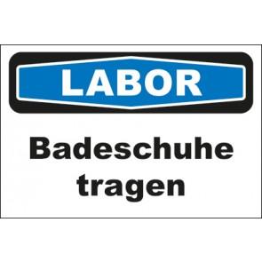 Hinweisschild Labor Badeschuhe tragen · MAGNETSCHILD
