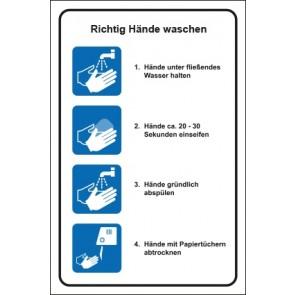 Hinweis-Schild Richtig Hände waschen
