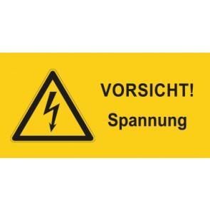 Warnhinweis Aufkleber Elektrotechnik Vorsicht Spannung · mit Warnzeichen | stark haftend
