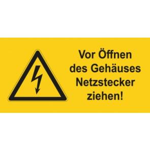 Warnhinweis Schild Elektrotechnik Vor Öffnen des Gehäuses Netzstecker ziehen · mit Warnzeichen