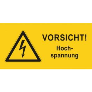 Warnhinweis Aufkleber Elektrotechnik Vorsicht Hochspannung · mit Warnzeichen | stark haftend