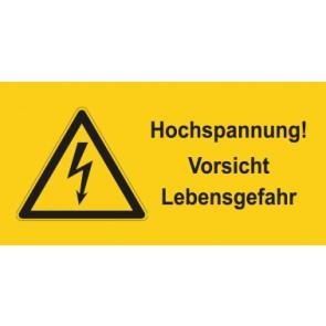 Warnhinweis Aufkleber Elektrotechnik Hochspannung Vorsicht Lebensgefahr · mit Warnzeichen | stark haftend