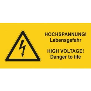 Warnhinweis Aufkleber Elektrotechnik Hochspannung-Lebensgefahr D-E · mit Warnzeichen | stark haftend
