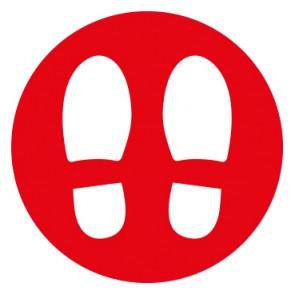 Fußbodenaufkleber Abstandspunkte Mod. 6 rot