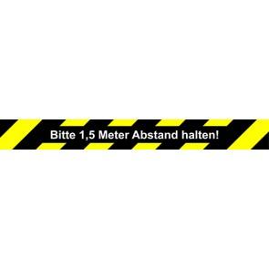 Fußbodenaufkleber Bitte 1,5 Meter Abstand halten · rechteckig | schwarz · gelb