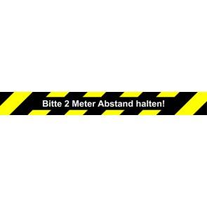Fußbodenaufkleber Bitte 2 Meter Abstand halten · rechteckig | schwarz · gelb