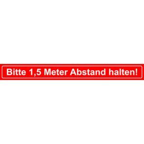 Fußbodenaufkleber Bitte 1,5 Meter Abstand halten · rechteckig | rot · weiß