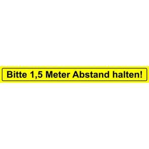 Fußbodenaufkleber Bitte 1,5 Meter Abstand halten · rechteckig | gelb · schwarz