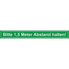 Fußbodenaufkleber Bitte 1,5 Meter Abstand halten · rechteckig | grün · weiß