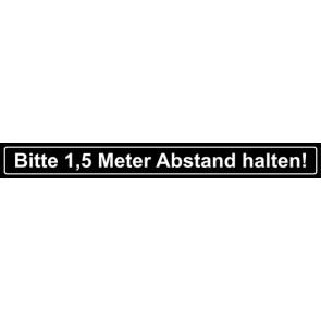 Fußbodenaufkleber Bitte 1,5 Meter Abstand halten · rechteckig | schwarz · weiß